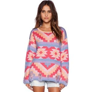 Wildfox Couture Desert Drive Sweater in Acid Pink